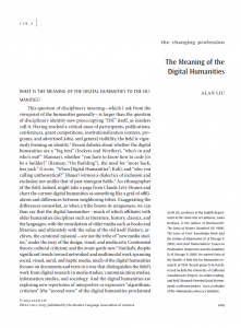 """The Meaning of the Digital Humanities"" essay (first page screenshot)"