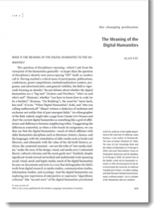 """""""The Meaning of the Digital Humanities"""" essay (first page screenshot)"""