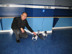 Alan with Sony Aibo dogs