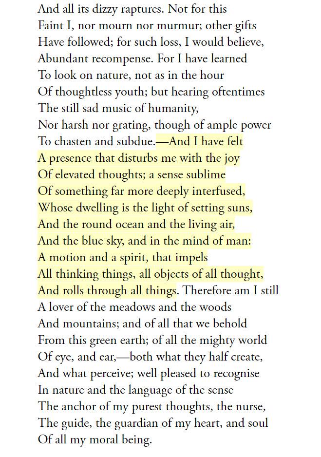 "William Wordsworth, excerpt from ""Tintern Abbey"""