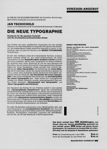 Jan Tschichold, publicity leaflet for Die neue Typographie (1928) -- original printed black on yellow
