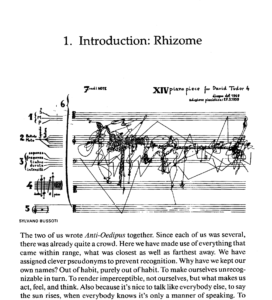 """Sylvano Bussoti, """"Piano Piece for David Tudor 4""""; as reproduced on title page of chapter 1 on """"Rhizomes"""" in Deleuze and Guattari's A Thousand Plateaus"""