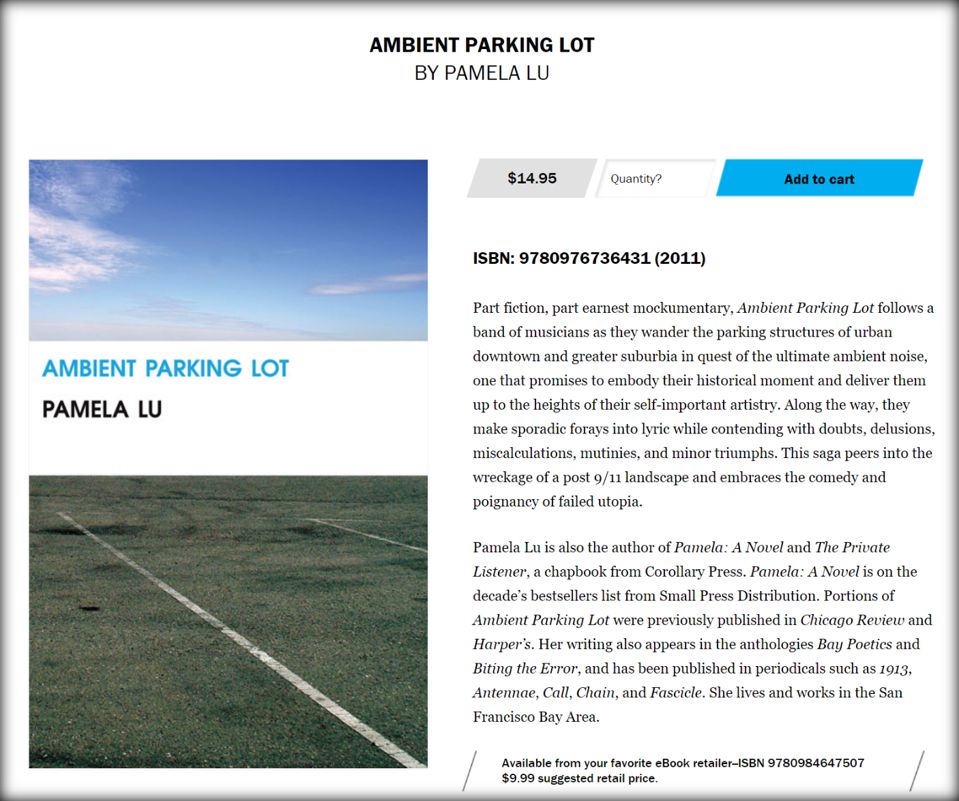Pamela Lu, Ambient Parking Lot (2011) (publisher's page for book)