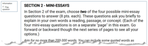Mini-essays section in GauchoSpace exam for English 25