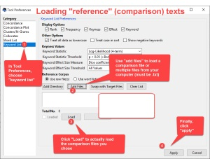 """Antconc - Loading a """"reference"""" comparison file(s) for use with the Keywords function"""