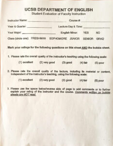 English Department course evaluation form