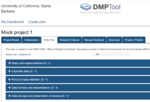DMPTool (Data Management Plan builder) screenshot